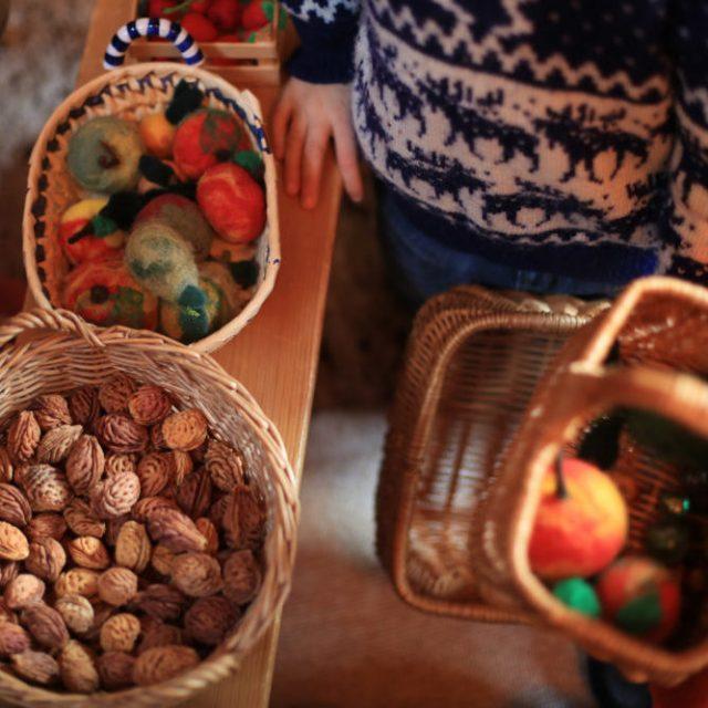 Récoltes des fruits de saison au jardin d'enfant